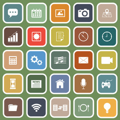 Application flat icons on green background