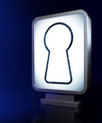 Information concept: Keyhole on billboard background
