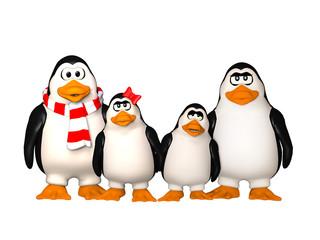 happy penguins family