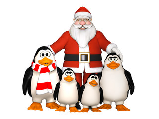 happy penguins family with Santa