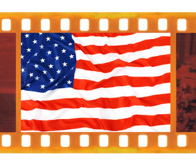 vintage old 35mm frame photo film with USA flag