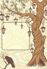Vintage background with tree and lanterns