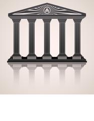 Antique roman temple stylized  background