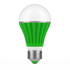 Green LED lamp isolated on white background.