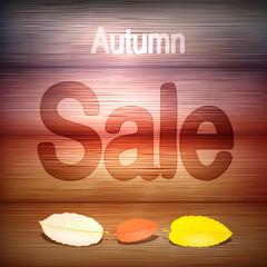 Autumn Sale title on wooden background