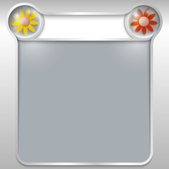 silver abstract text box with two flowers