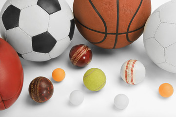 High angle view of assorted sports balls
