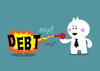 destroy debt by his ray gun
