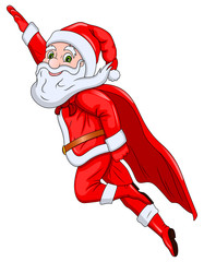 Santa Claus Flying in the Air
