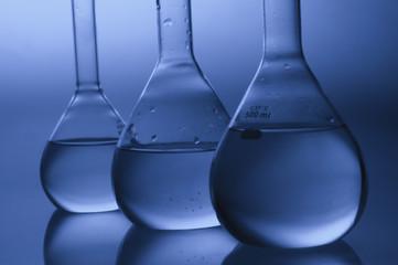 Close-up of laboratory flasks