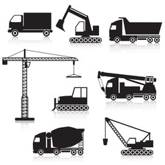 icon construction equipment: .crane, scoop, mixer