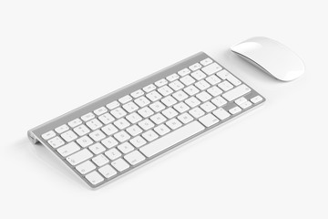 Wireless computer keyboard and mouse isolated on white backgroun Wall mural