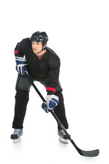Hockey player is ready to fight of the strike.