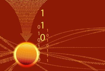 Data Background - Binary Code Technology Stream with Globe