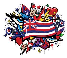 Hawaii Aloha state flag graffiti colorful pop art illustration