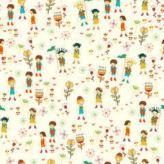 Spring background with playing children