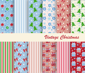 vector set of Christmas paper for scrapbook