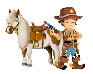 Cowgirl - cowboy - wild west - illustration for the children