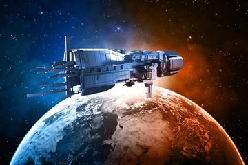 Obraz Statek kosmiczny z planetą Ziemią - fototapety do salonu