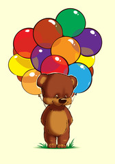Teddy bear with multicolored balloons on a yellow background
