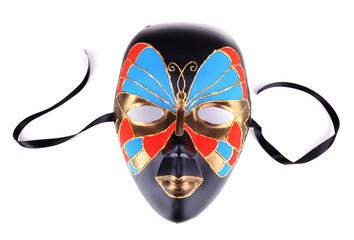Mask on blue fabric background
