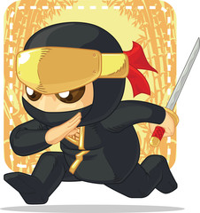 Cartoon of Ninja Holding Japanese Sword