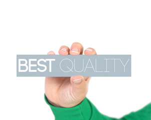 woman holding best quality tag