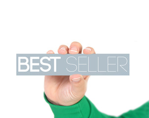 woman holding best seller tag