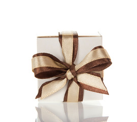 Charming bright bow on the gift box