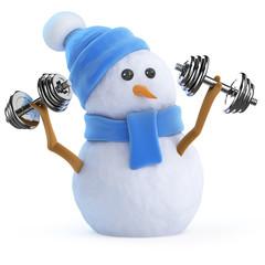 Snowman lifts some dumbells