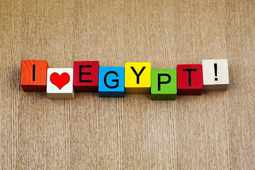 I Love Egypt - sign series for travel and holidays