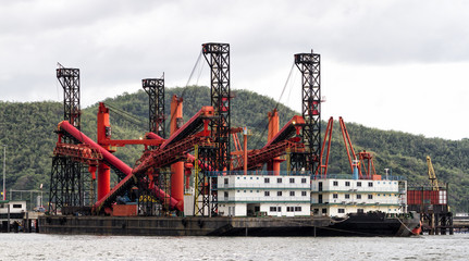Dredger ship at the harbour, Thailand