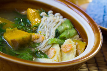 Thai Spicy Mixed Vegetable Soup with Prawns( Kang Liang)