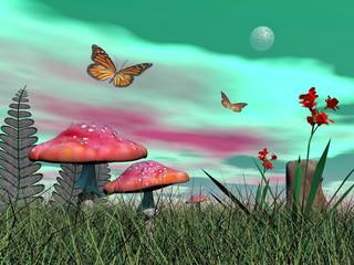 Fantasy garden - 3D render
