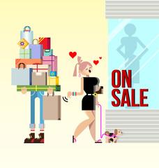 shopping woman and boyfriend vector