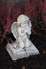 Im Stillen Gedenken - Ein Engel wacht auf einem Grab im Herbst