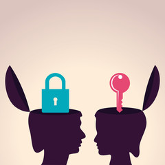 Illustration of thinking concept-Human head with lock and key