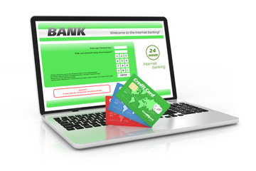 Internet banking service. Laptop and credit cards