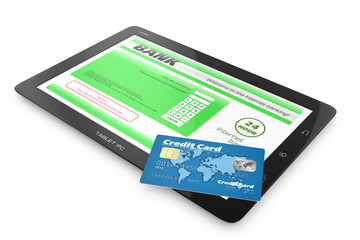 Internet banking service. Tablet PC and credit card