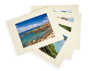 Pile of photos with passepartout