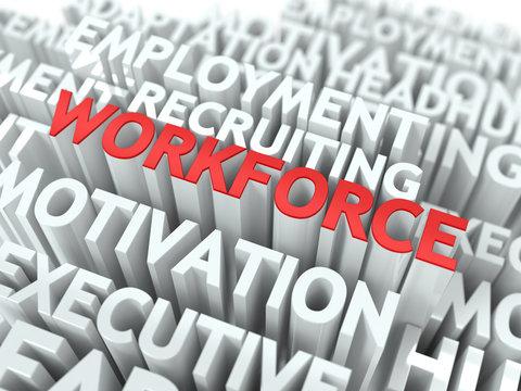 Workforce. Wordcloud Concept.