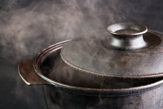 Steaming iron pot , cover opened