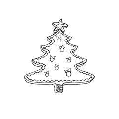 Christmas tree. Contour drawing. Vector element for any design