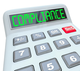 Fototapete - Compliance Word Calcualtor Accounting Financial Audit