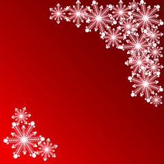 snowflake on a red background for a card