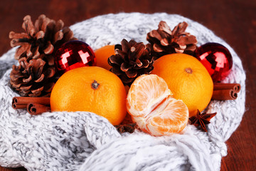 Christmas tangerines and Christmas toys