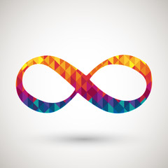 infinity symbol with colorful diamond