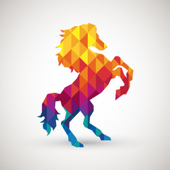 Poster Geometric animals abstract horse symbol with colorful diamond