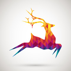Canvas Prints Geometric animals abstract reindeer with colorful diamond
