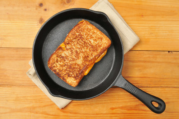 Grilled cheese sandwich in cast iron skillet